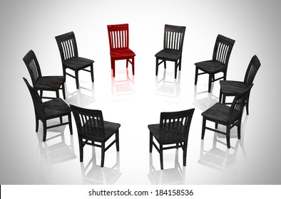 Business concept - Circle of chairs red and black