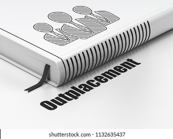 Business concept: closed book with Black Business People icon and text Outplacement on floor, white background, 3D rendering