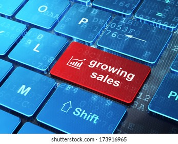 Business concept: computer keyboard with Growth Graph icon and word Growing Sales on enter button background, 3d render