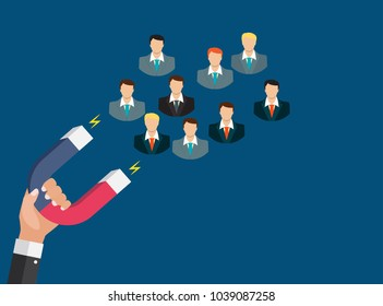 Business concept of hand hold magnet attract customers.  Illustration