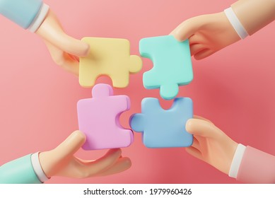 Business concept. Hand of people connecting jigsaw puzzle. Symbol of teamwork, cooperation, partnership. 3d render.