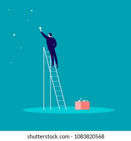 Business concept illustration with businessman standing on stairs and reaching star on the sky. Blue background. Reach your dream, aspirations and solutions - metaphor.