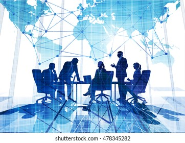 Business concept illustration. Group of business silhouettes on map background