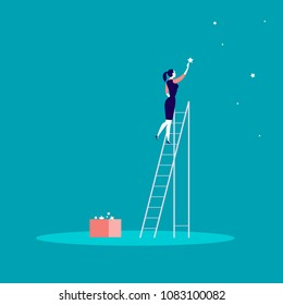 Business concept illustration with business lady standing on stairs and reaching star on the sky. Blue background. Reach your dream, aspirations and solutions - metaphor.