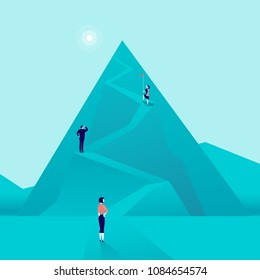Business concept illustration with business people climbing mountain road up. Flat style. Career, lady leadership, growth, new goals, aspirations, women move up, follow your dreams - metaphor.