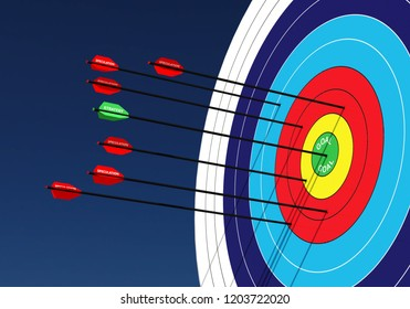 Business Concept image Series. Illustrated with 3D rendering of archery targets and arrows
