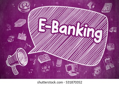 Business Concept. Loudspeaker with Text E-Banking. Hand Drawn Illustration on Purple Chalkboard. Shouting Megaphone with Phrase E-Banking on Speech Bubble. Doodle Illustration. Business Concept.