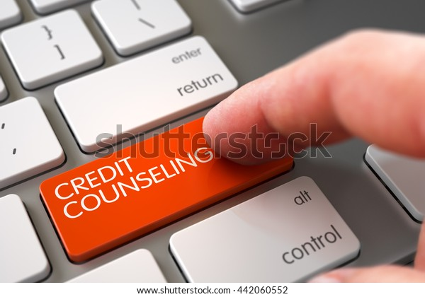 Business Concept - Male Finger Pointing Credit Counseling Keypad on Modern Laptop Keyboard. 3D Render.