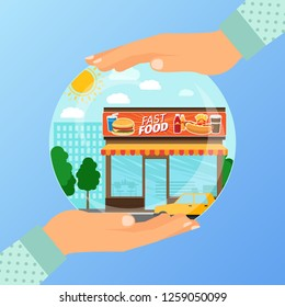 Business concept for opening the institution of fast food. A woman is holding a glass ball with his hands