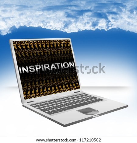 Business Concept Present By Computer Laptop With Silver Inspiration Text And Orange Dollar Sign Wallpaper Against