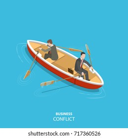 Business conflict flat isometric low poly concept. Two businessmen in are sitting the same boat try to move it in the different directions.