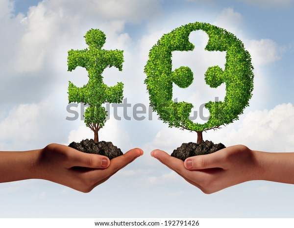 Business consulting advising and financial consulting concept with a hand offering a jigsaw puzzle piece tree to another hand with a missing part as a perfect fit metaphor for expert solutions.