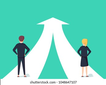 Business cooperation and partnership concept. Woman and man working together for common goal. Symbol of equality or collaboration, connection. Way to success