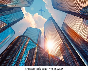 Business corporate construction industry and real estate financial concept: 3D render of morning urban scenery and modern glass skyscrapers in city downtown district with sun light and airliner in sky