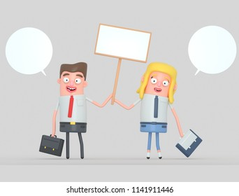 Business couple holding a white banner. 3d illustration.