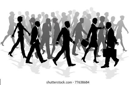 Business crowd of people walking in a rush between meetings.