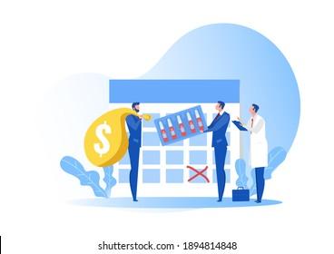 Entrega de negocio con vacunas para el concepto de antivirus. La industria de la atención de la salud como dispensador, vacunador y productor de cápsulas.