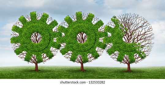 Business development and growing industry concept with trees shaped as a gear or cog connected together with future financial growth ahead on a summer sky background.