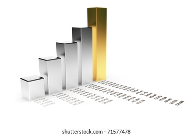 Business diagram 3d. graph Isolated