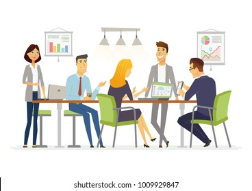 Business Discussion - illustration of business situation. Cartoon people characters of female, male colleagues, partners discussing work. Young office workers team in casual friendly atmosphere