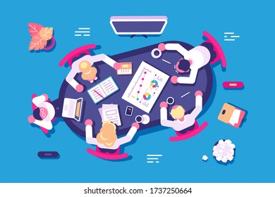 Business discussion in office illustration. Biz partners having meeting in conference room flat style concept. Corporate people discussing new project or startup