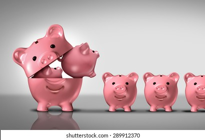 Business diversification concept as a financial growth strategy for new markets for investment growth as an open piggy bank with a group of smaller piggybanks as a metaphor for growing wealth.