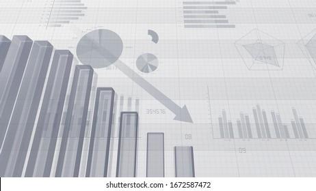 Business Economy Data Graph Chart Bar Growth Success 3D illustration background