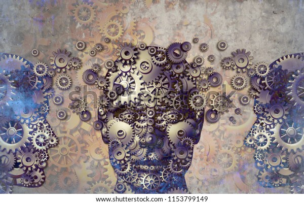 Business education and corporate development and abstract training or learning professional skills in a grunge steampunk texture as a 3D illustration.