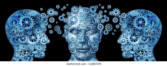 Business education and corporate management training programs with human heads made of gears and cogs exchanging ideas and knowledge to train and educate the mind for career success on black.