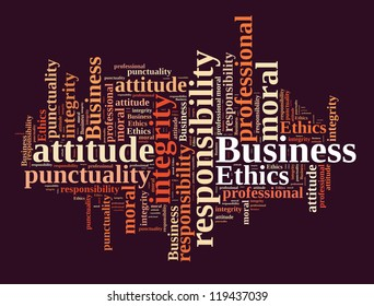 Business ethics in word cloud