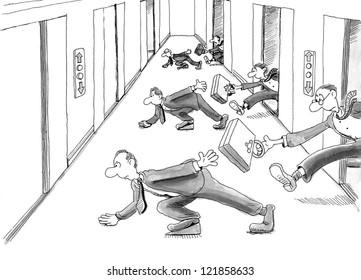 Business execs hand briefcases to next team member.