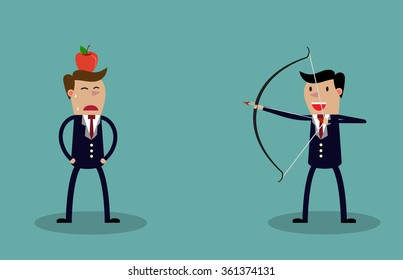 Business executive holding bow and arrow aiming to shoot at apple on another mans head. illustration for business risk concept Raster version