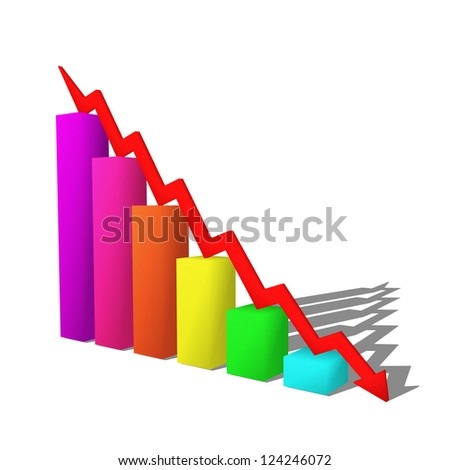 business failure graph down arrow - illustration