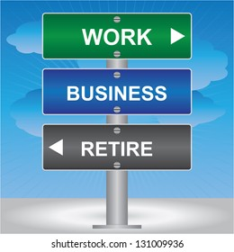 Business and Finance Concept Present By Green, Blue and Gray Street Sign Pointing to Work, Business and Retire in Blue Sky Background