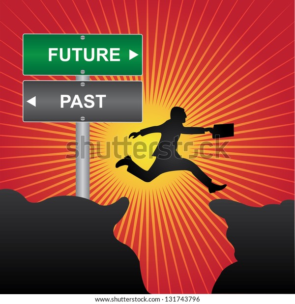 Business and Finance Concept Present By Jumping Through The Valley Gap With Green and Gray Street Sign Pointing to Future and Past in Red Shiny Background