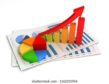 business finance graph chart 3d illustration isolated
