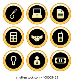 Business & Finance Icons Gold Icon Set. Raster Version
