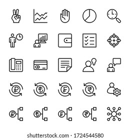 Business & Financial 36, Outline icons set.