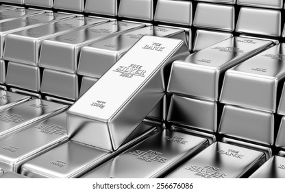 Business, Financial, Bank Silver Reserves Concept. Stack of Silver Bars in the Bank Vault Abstract Background