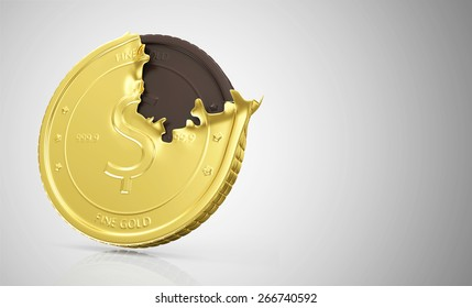 Business and Financial Concept. Golden Coin with Chocolate Coin on gradient reflective background with place for Your text
