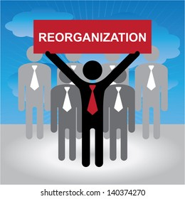 Business and Financial Concept Present By Group of Businessman With Red Reorganization in Blue Sky Background