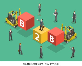 Business to business flat isometric . People are compounding the word B2B.