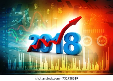 business graph with arrow up and 2018 symbol, represents growth in the new year 2018, three-dimensional rendering, 3D illustration