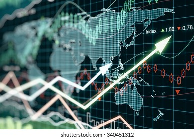 Business graph with arrows, global business concept 3D Render