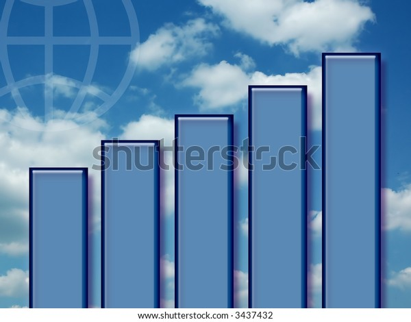 Business Graph with Blue Sky and Globe