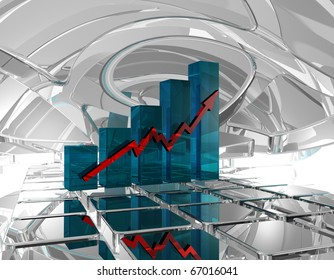 business graph in futuristic space - 3d illustration