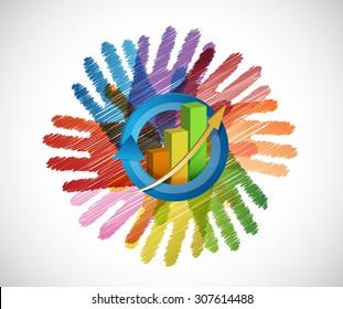 business graph over a color hands diversity concept. illustration design