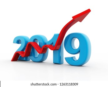 Business graph with red arrow up, represents growth in the year 2019. Business Growth. 3D illustration