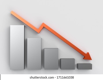 Business grey grafic and arrow down. negative graph. 3d illustration