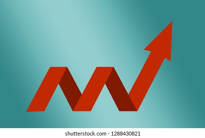 Business growth arrow on blue background, 3D rendering